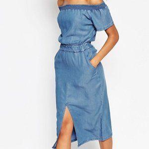 ASOS Denim Off Shoulder Waisted Midi Dress US 6